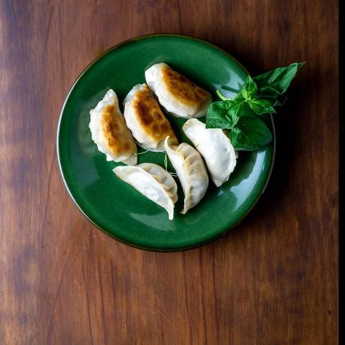 Gyoza de langostino con cebollino